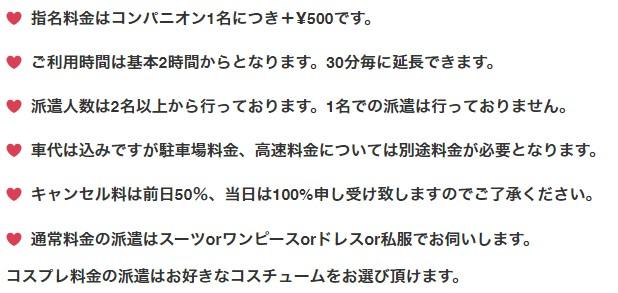指名料金はコンパニオン1名につき+¥500です。 ご利用時間は基本2時間からとなります。30分毎に延長できます。 派遣人数は2名以上から行っております。1名での派遣は行っておりません。 車代は込みですが駐車場料金、高速料金については別途料金が必要となります。 キャンセル料は前日50%、当日は100%申し受け致しますのでご了承ください。 通常料金の派遣はスーツorワンピースorドレスor私服でお伺いします。